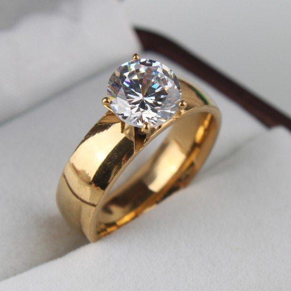 6mm Light Zircon CZ 18k gold plated 316L Stainless Steel finger engaging wedding rings for men and women jewelry wholesale lots(China (Mainland))