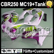 7gifts+Tank HONDA CBR250RR MC19 Purple green 1986 1987 1988 1989 9J176 CBR 250RR new White 86 87 88 89 CBR250 RR Fairings - Motomarts store