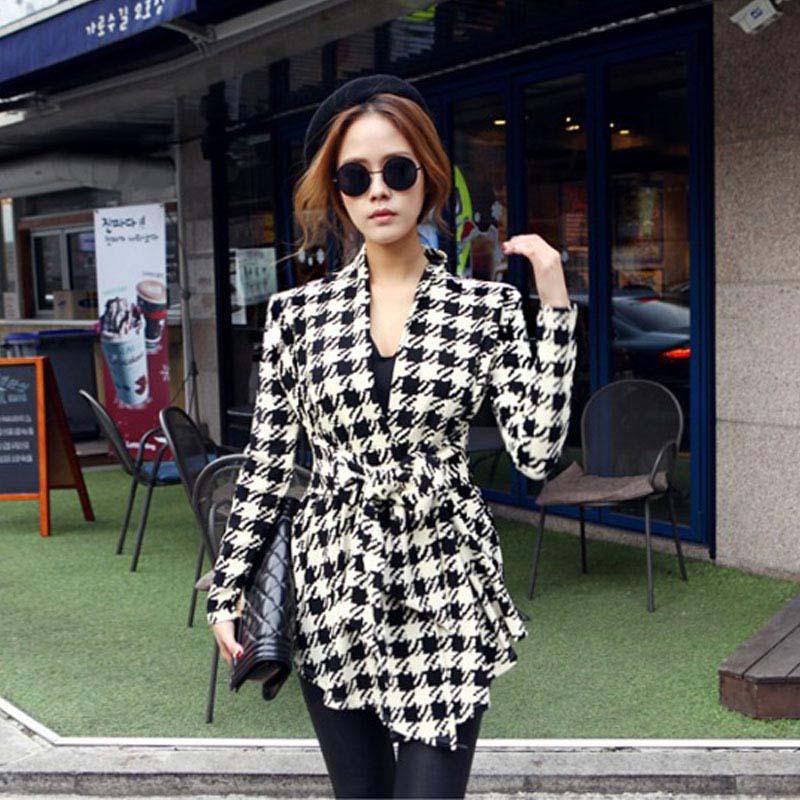 2015 Fashion Plus Size Spring Women's Long Sleeve Plaid Print Open Stitch Belt Peplum Slim Jacket Cardigan Coat Top Free Shiping(China (Mainland))