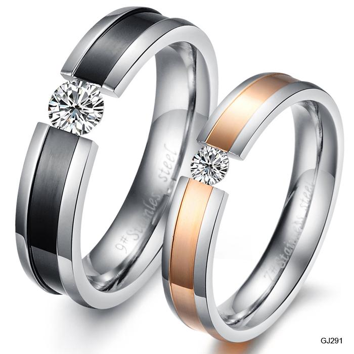 Wholesale Ring Fashion Jewelry Titanium 316L Stainless Steel CZ Diamond Rhinestone Promise Couple Wedding Lovers Rings 20pcs/lot(China (Mainland))