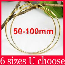 Wholesale 50/60/70/80/90/100mm Gold Basketball Wives Large Hoop Earrings Big Hoop Earrings-Spark Boutique(China (Mainland))