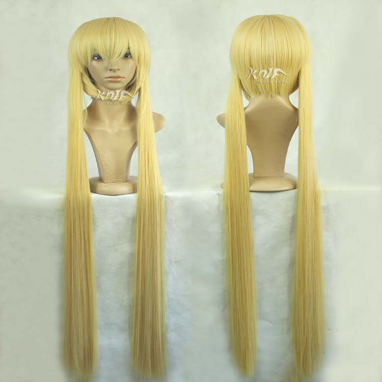 Dekomori Sanae Harajuku anime wigs long 120cm yellow straight cosplay wigs with two ponytail free shipping