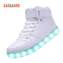SAGUARO 2016 New Men Women Fashion Luminous Shoes High Top LED Lights USB Charging Colorful Shoes Lovers Casual Flash Shoes(China (Mainland))
