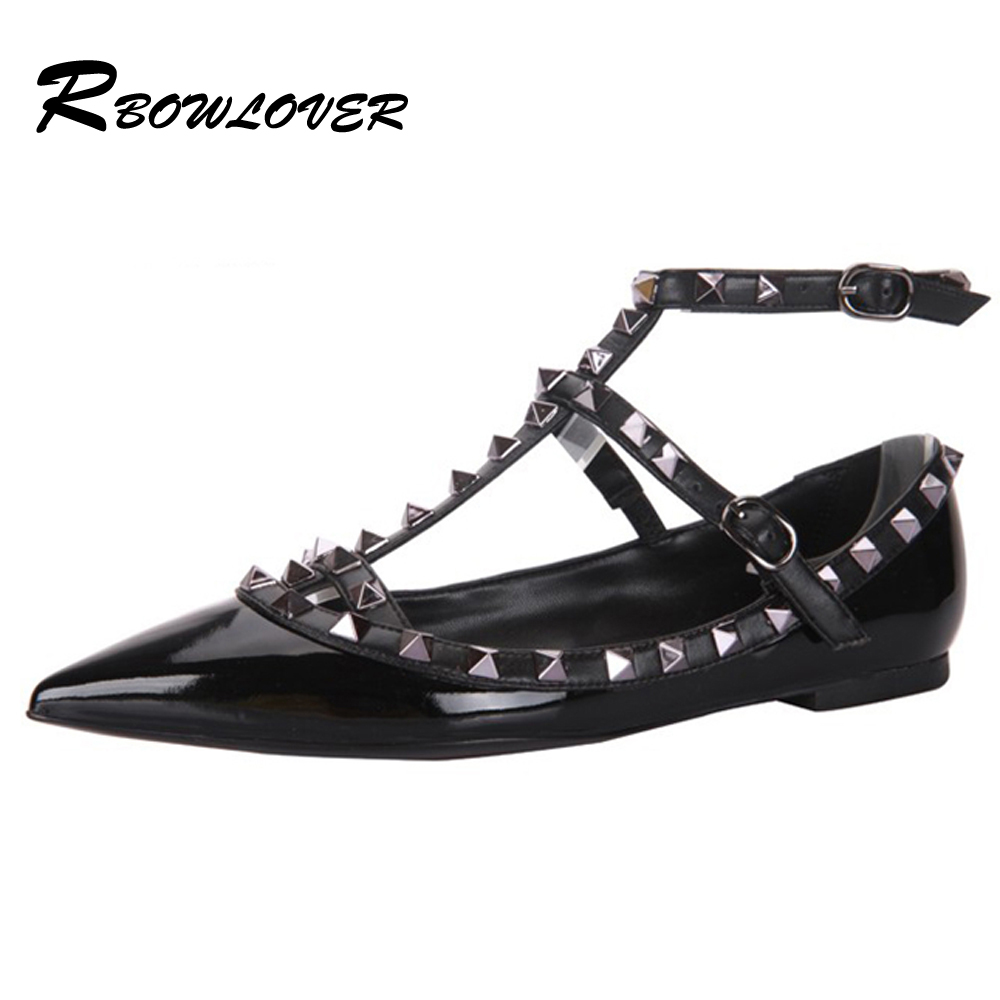 Hot Selling Women Calfskin Pointed Toe Rivets Flat Shoes,Genuine Leather Flats 39 Colors(China (Mainland))