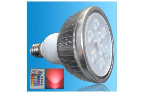 IR Remote controlled RGB LED PAR38 spotlight;dimmable;E27 Base;9*3W;Bridgelux Chip