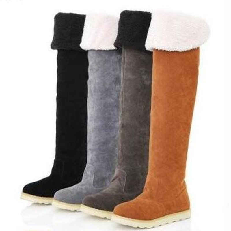 2016 Women's Winter Boots Winter Shoes Folding Over Knee Boots Snowshoes Fashion Round toe Female Footwear Women boots size35-40