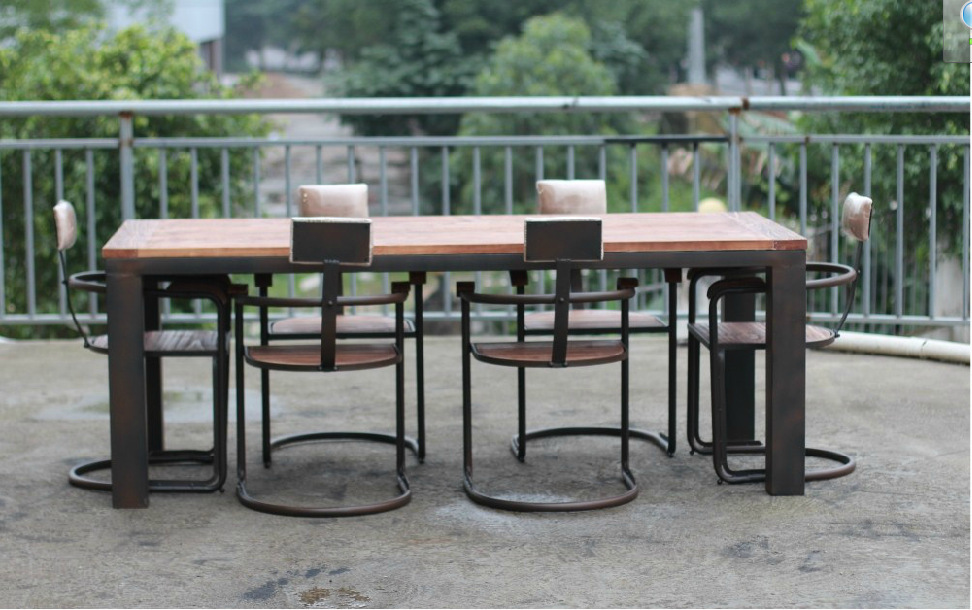 Здесь можно купить  New Zealand imported pine American country wood dining table and chairs combination Iron small apartment  Мебель