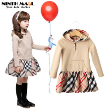 New Fashion Kids Clothes Girls Long-sleeved Plaid Hooded Dresses Hoodies Coat Winter Baby Girl Kids Clothes sudaderas ninos TW12(China (Mainland))