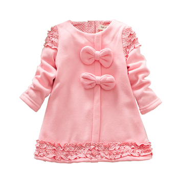 HABA Winter thick baby girl dress,full sleeve autumn winter children clothing,cute bow lace kids dress HB0368