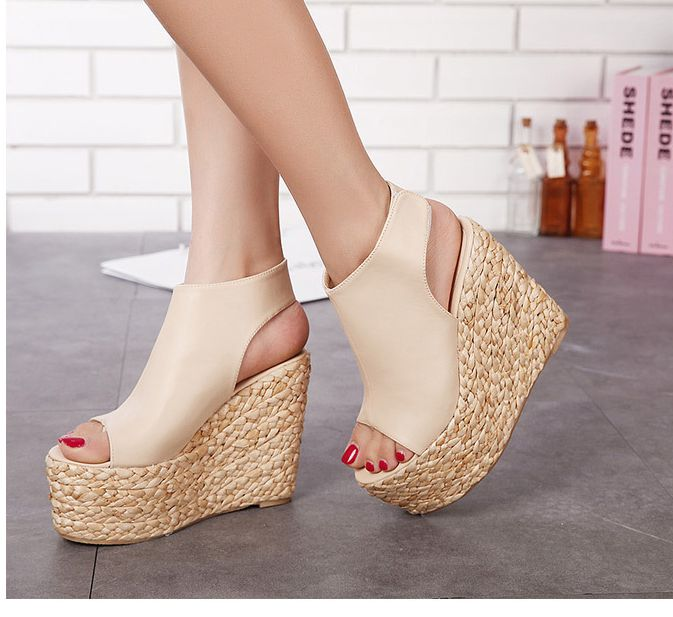 2016 summer women platforms wedges sandals shoes open peep toes gladiator DS054 comfortable black khaki extra high heel  shoes