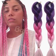 24″ ombre kanekalon jumbo braiding hair colors three tone marley braid hair senegalese afro twist braid expression hair braids
