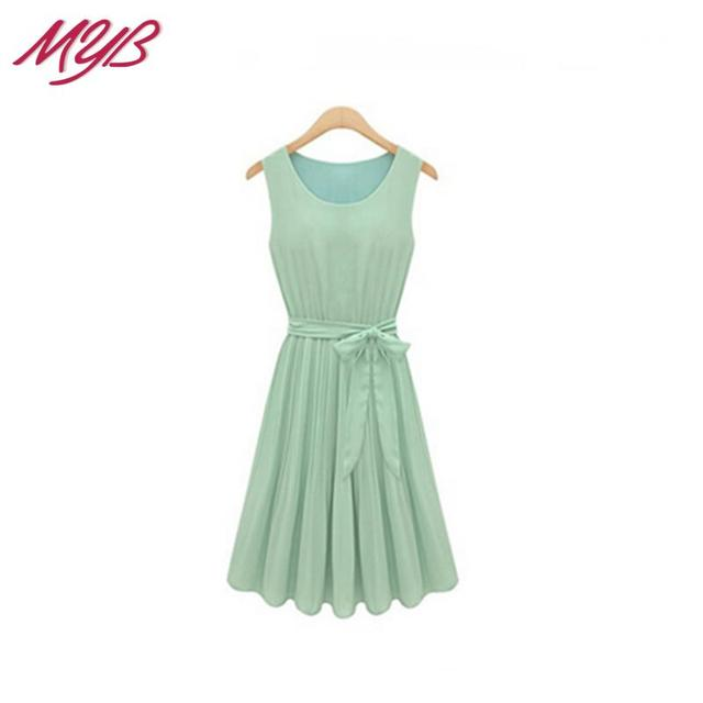 5 Colors New 2015 Spring Summer Elegant Bright Sleeveless Chiffon Pleated Tank Dress With Sashes Plus Size For Women Girl 992301