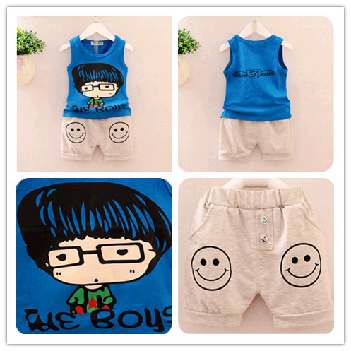 Toddler enfant Kid Baby Boy Summer 2 pcs Tops/Vest+Shorts Pants Outfit Short Sets Funny Baby suits with sayings Free shipping(China (Mainland))