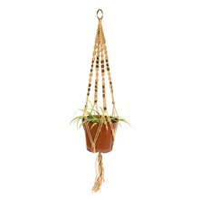 4 Legs Macrame Rope Plant Holders Hangers Beige Color 40 inches(China (Mainland))