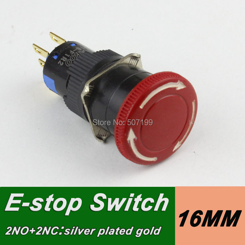 1pcs shipping free 2NO+2NC mushroom head emergency stop switch press to lock turn right to reset emergency push button switch(China (Mainland))