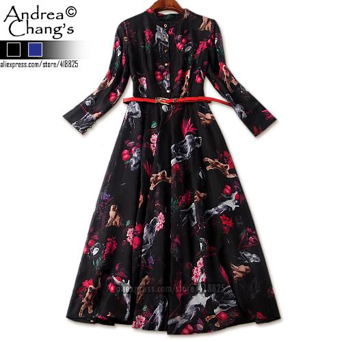 2016 spring summer designer womens dresses black over knee ball gown brown white monkey pink flower print fashion brand dress(China (Mainland))
