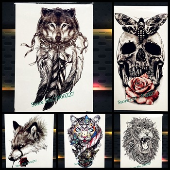Hot Wolf Design Temporary Tattoo Dreamcatcher Indian Black Feather Totem, Henna Flash Fake Tatoo Men Women Body Arm Sleeve Taty