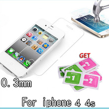 HOT sale 9H high clear 2.5D Premium Tempered Glass Screen Protector for iPhone 4 4S Toughened protective film front guard