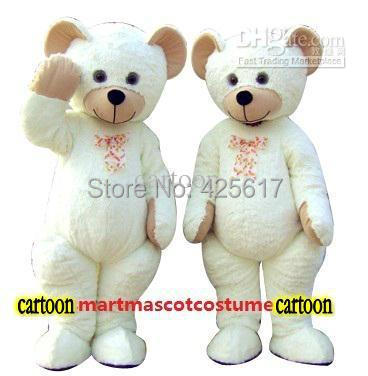 Hot selling!New classic teddy bears white Cartoon Fancy Dress Suit Outfit Animal Mascot Costume - Sam's World store
