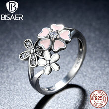 Buy BISAER 100% 925 Sterling Silver Pink Flower Poetic Daisy Cherry Blossom Finger Ring Women Fashion Wedding Jewelry HSR004 for $9.21 in AliExpress store