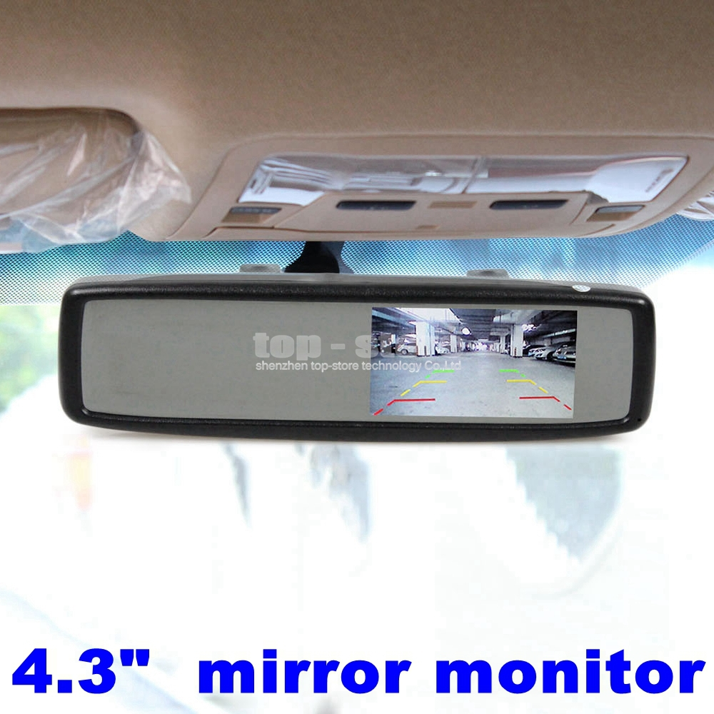 High Quality 4.3 Inch TFT LCD Color Monitor Rear View Mirror Monitor Car Monitor with 2 Video Input(China (Mainland))