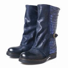 Prova Perfetto Kadın Çizme İngiliz Tarzı 2019 Moda Deri Orta Çizmeler Stingray Cilt Kısa Çizme Çizme Kış Ayakkabı Kızlar(China)