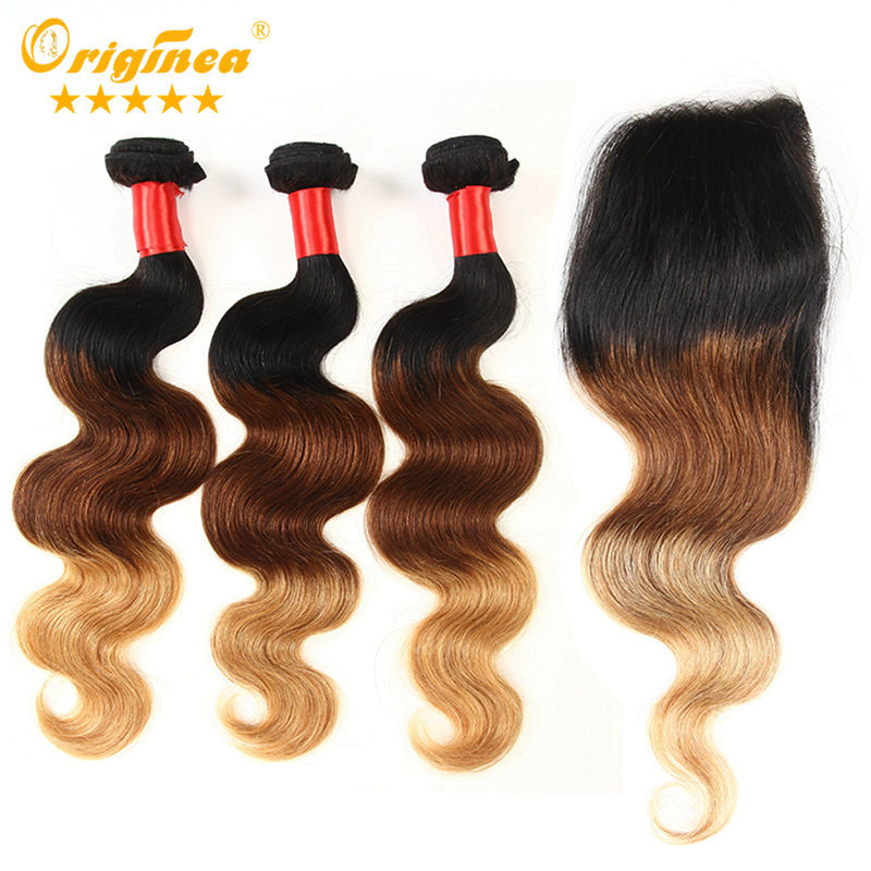 Top Quality 7A Grade 3 Tone Brazilian Virgin Ombre Hair Body Wave With Freestyle Closure  Free Shipping<br><br>Aliexpress