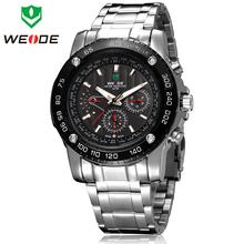 Nueva moda de WEIDE 6 manos Day Date / 24 H pantalla de calendario acero inoxidable completa Mens Sports suizo del cuarzo del reloj 30 M impermeable