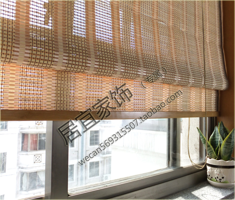 Bamboo curtain folding balcony window curtain roller for Balcony curtains