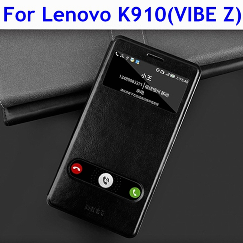 product New Mofi brand Lenovo K910 vibe z mobile phone open window Flip protective leather case Wholesale Free shipping W/Tracking NO