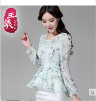 2015 new spring elegant Flouncing dovetail swing chiffon shirt female long-sleeve floral print chiffon blouse top