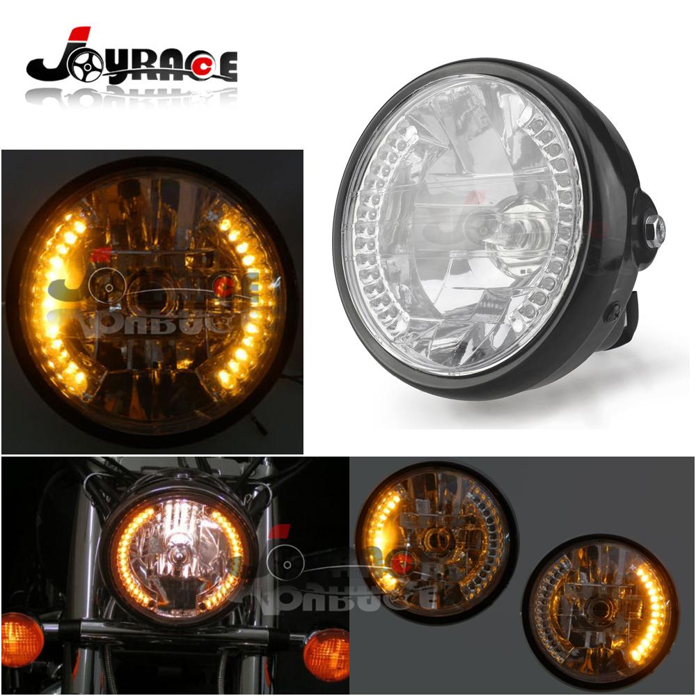 "Aftermarket Amber 35W 6.75"" Black Round LED Motorcycle Headlight LED Universal with Turn Signal Motocross(China (Mainland))"