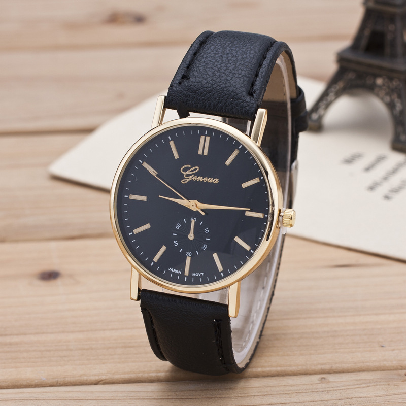 2016 New Fashion Simple Leather Strap Geneva Women Watch Hot Relojes Quartz Women Dress Watch Clock