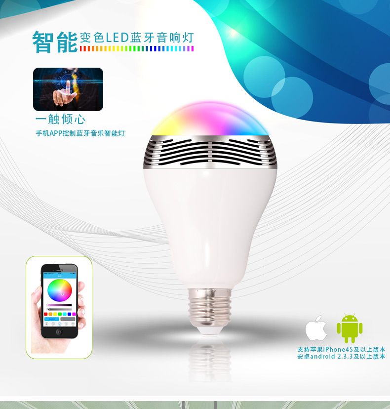 PlayBulb Wireless Bluetooth LED Light Bulb Smart LED Lights for Apple iPhone, iPad, Android Phone and Tablet(China (Mainland))