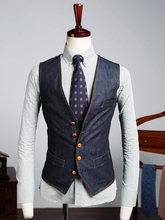 New Arrivals men Slim Fit casual fashion personality denim vest high quality Men's brand suit vest jacket sleeveless