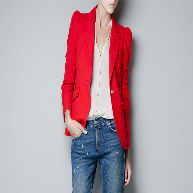 Blazer Women One Button Shoulder Pads Suit Jacket Styles ...