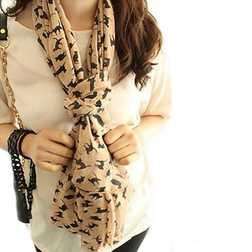 2015 Fashion Women Soft Chiffon Colorful Sweet Cartoon Cat Kitten Scarf Graffiti Style Shawl Girls Christmas