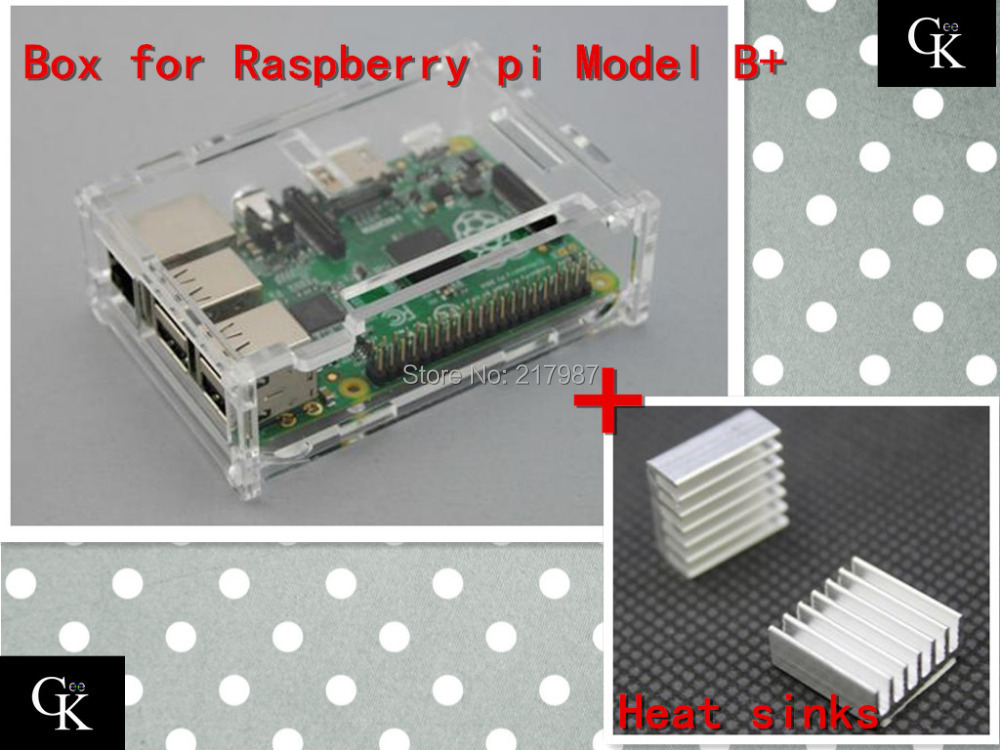 Pi case with 2 pcs pure aluminum heat sink for raspberry pi model b plus raspberry