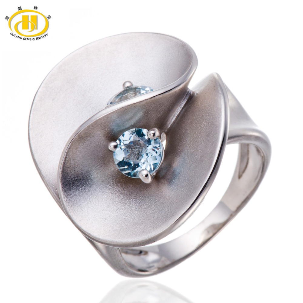 NATURAL AQUAMARINE GEMSTONE SOLID 925 STERLING SILVER FLORAL RING<br><br>Aliexpress