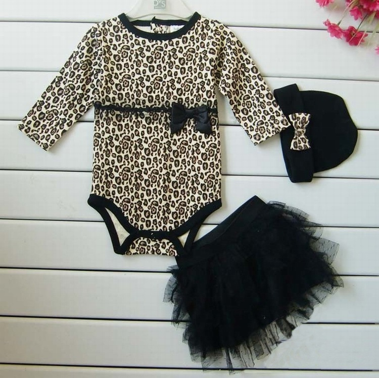 Гаджет  Free shipping Baby girls 3pcs sets:long sleeved rompers + tutu skirt dress+headband(hat) Autumn girls leopard kids clothing sets None Детские товары