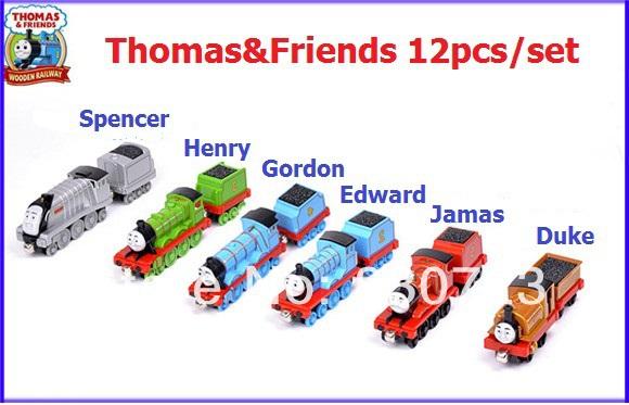 12Trains&amp;Trailer-Thomas &amp; Friends metal train Models-Mix Order<br><br>Aliexpress