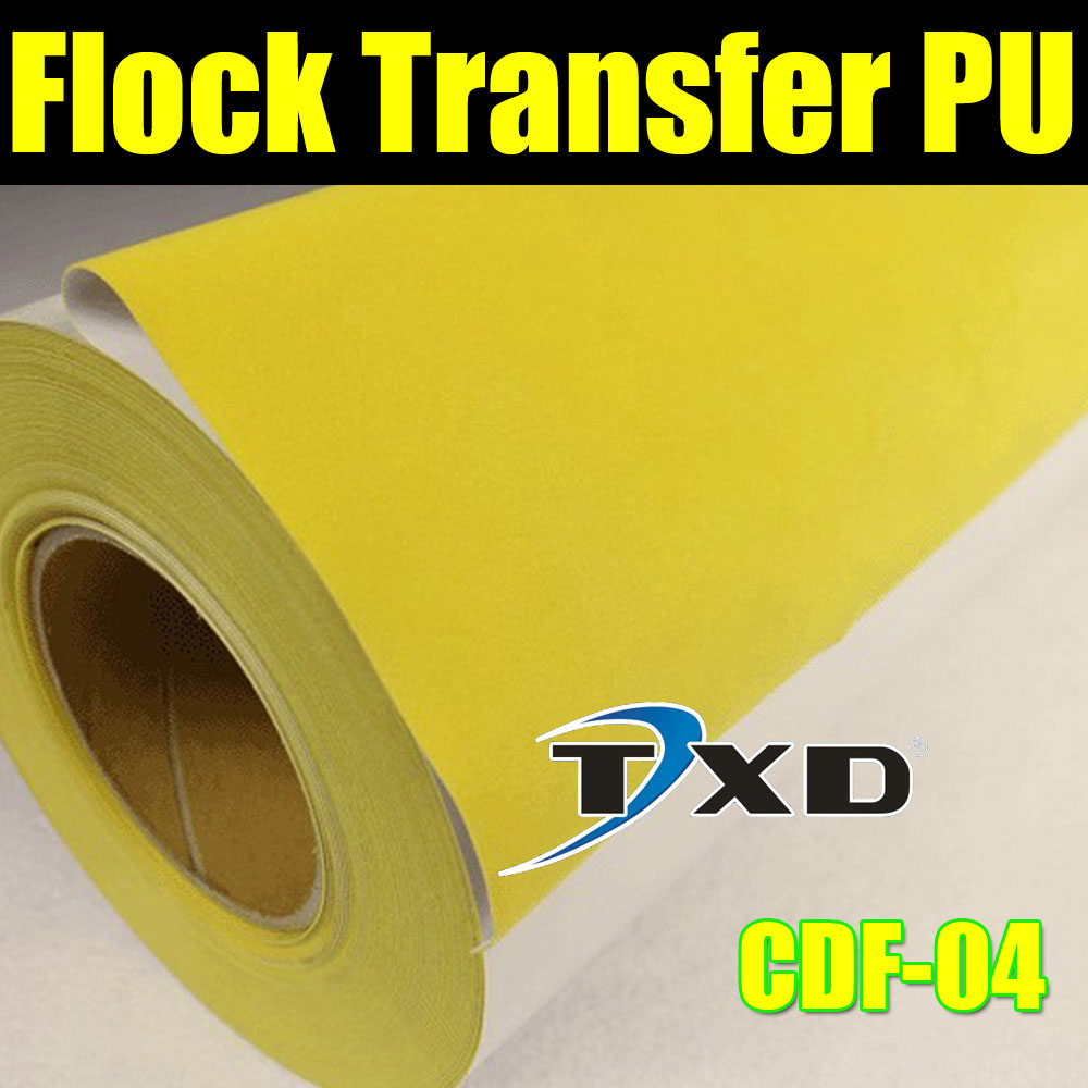 Yellow Flock heat transfer PU VINYL For cutting plotter transfer flock PU vinyl for garments with size:50X100CM/LOT(China (Mainland))