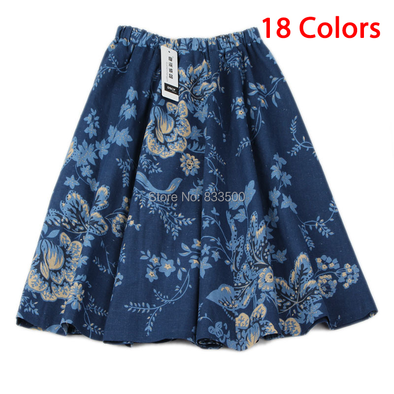 2015 new women female spring summer bohemian knee length linen skirts floral print a-line vintage midi skirt A133(China (Mainland))