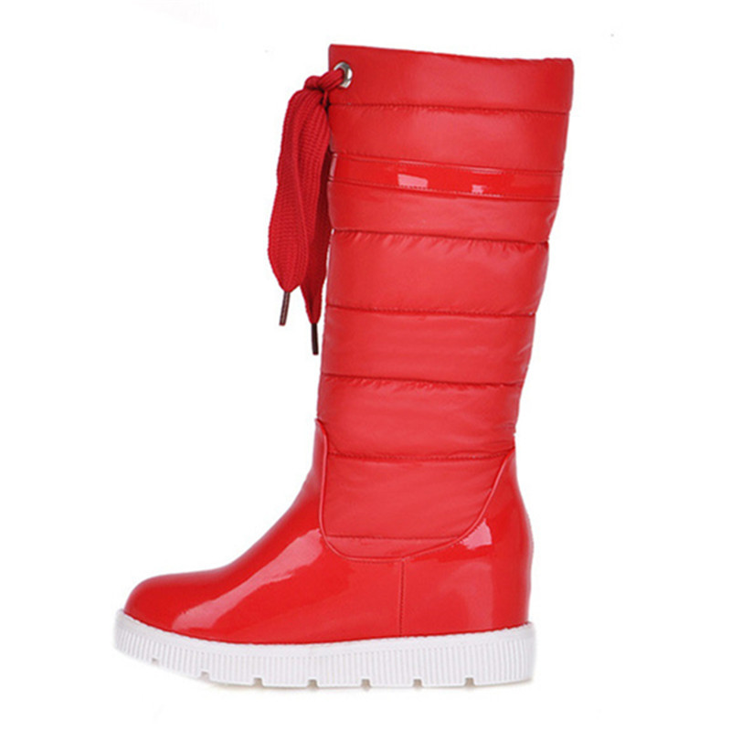 Patent Leather Womens Snow Boots Shoes Warm High Quality Womens Boots Shoes For Winter Brand New Arrival Womens Shoes
