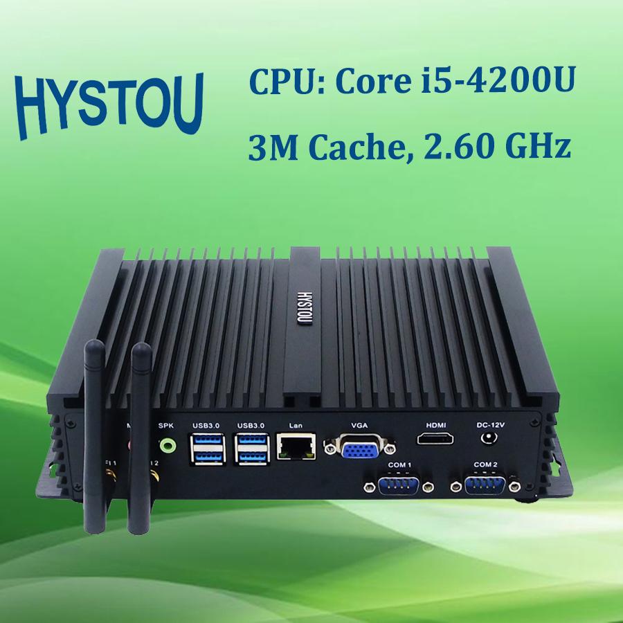Hystou Free Shipping Barebone Mini PC Core i5 4200U Dual Core 1 LAN VGA HDMI 12V Mini Desktop Computer Black Color(China (Mainland))