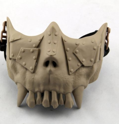 Free Shipping Sand Color CS Protective Half Face Halloween Masquerade Live Skull Mask Cosplay Costume 2015 New Arrival(China (Mainland))
