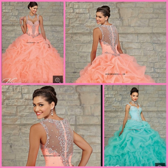 Персик бисера сладкий 15 платье 2015 новый органзы и тафты с бисером реальную картину ...