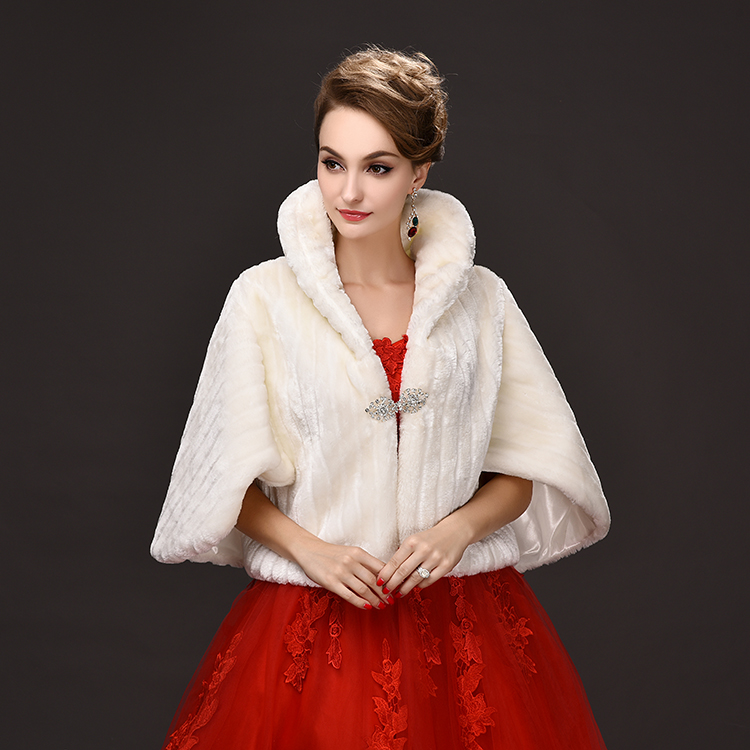 Fur Bolero Beaded 2016 Promotion Wedding Bolero Accessories Fast Delivery New Cheap Faux Shawl Winter Cape Bridal Jackets P108(China (Mainland))