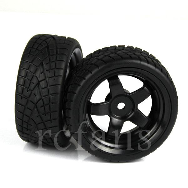 Black 4pcs RC 1:10 On Road Car Plastic Wheel Rims Rubber Tires 5 Spoke