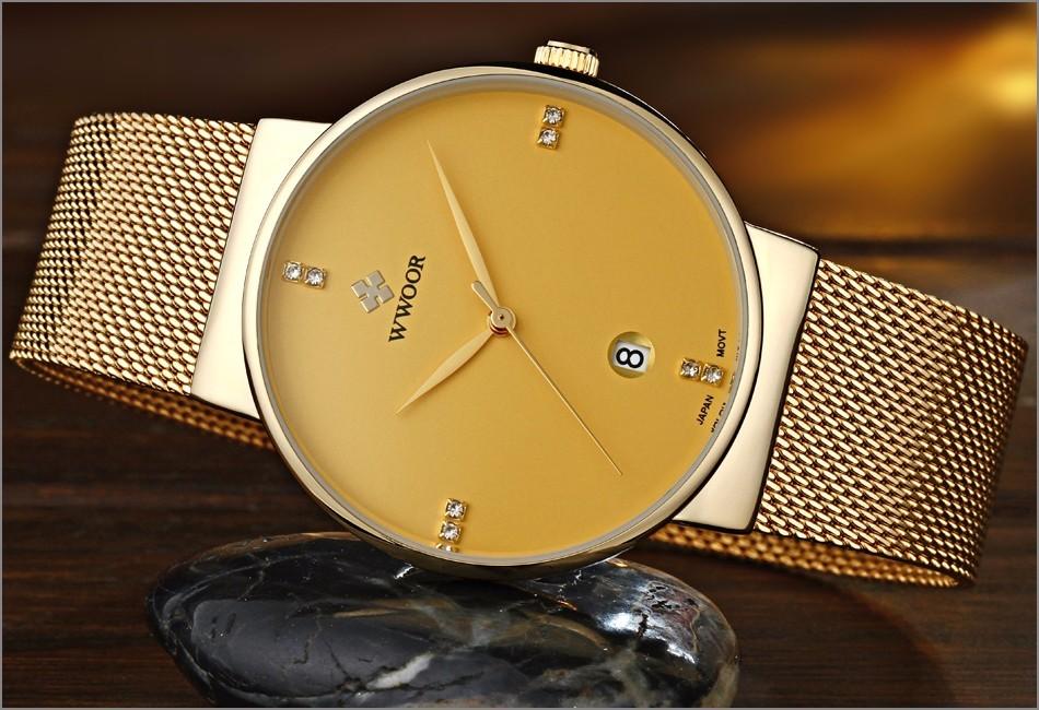 FOTIN Top Brand WWOOR Часы Мужчины Ультратонкий Дата Часы Мужчины Водонепроницаемый Спортивные Часы Черного Золота Повседневная Наручные Часы Relogio Masculino